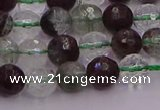 CPC10 15.5 inches 6mm faceted round green phantom quartz beads