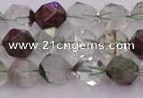 CPC16 15.5 inches 8mm faceted nuggets green phantom quartz beads