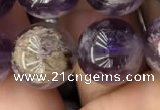 CPC614 15.5 inches 14mm round purple phantom quartz beads