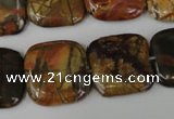 CPJ362 15.5 inches 20*20mm square picasso jasper gemstone beads