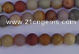 CPJ510 15.5 inches 4mm round matte polychrome jasper beads wholeasle