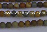 CPJ520 15.5 inches 4mm round matte wildhorse picture jasper beads