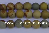 CPJ521 15.5 inches 6mm round matte wildhorse picture jasper beads