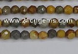 CPJ540 15.5 inches 4mm faceted round wildhorse picture jasper beads