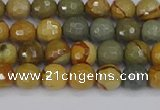 CPJ541 15.5 inches 6mm faceted round wildhorse picture jasper beads