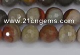 CPJ548 15.5 inches 8mm faceted round polychrome jasper beads