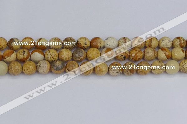 CPJ559 15.5 inches 12mm faceted round picture jasper beads