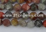 CPJ564 15.5 inches 6mm faceted nuggets polychrome jasper beads