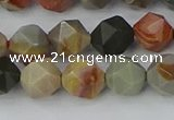CPJ565 15.5 inches 8mm faceted nuggets polychrome jasper beads