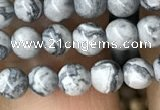 CPJ580 15.5 inches 4mm round grey picture jasper beads wholesale