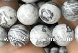 CPJ582 15.5 inches 8mm round grey picture jasper beads wholesale