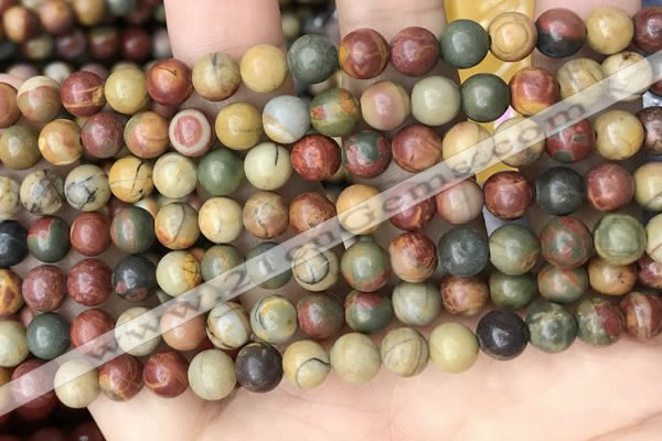 CPJ671 15.5 inches 6mm round picasso jasper beads wholesale