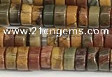 CPJ680 15.5 inches 2.5*4mm heishi picasso jasper beads wholesale
