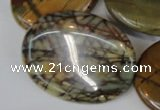 CPJ88 15.5 inches 30*40mm oval picasso jasper gemstone beads