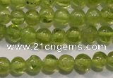 CPO102 15 inches 4mm round natural peridot beads wholesale
