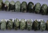 CPS119 15.5 inches 7*14mm faceted rondelle green peacock stone beads