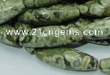 CPS12 15.5 inches 10*30mm rice green peacock stone beads wholesale