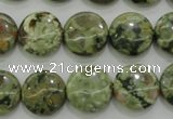 CPS142 15.5 inches 14mm flat round green peacock stone beads