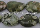 CPS148 15.5 inches 18*25mm freeform green peacock stone beads