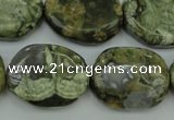 CPS149 15.5 inches 20*26mm freeform green peacock stone beads