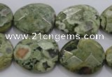 CPS150 15.5 inches 20*25mm faceted freeform green peacock stone beads