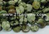 CPS83 15.5 inches 10mm faceted flat round green peacock stone beads