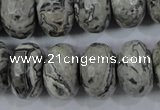 CPT135 15.5 inches 12*20mm faceted rondelle grey picture jasper beads