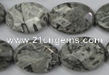 CPT147 15.5 inches 18*25mm faceted oval grey picture jasper beads