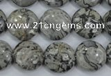 CPT165 15.5 inches 16mm flat round grey picture jasper beads
