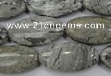 CPT175 15.5 inches 15*30mm marquise grey picture jasper beads