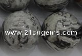 CPT192 15.5 inches 18mm round grey picture jasper beads wholesale