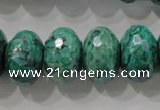 CPT227 15.5 inches 12*20mm faceted rondelle green picture jasper beads