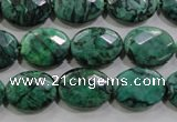CPT238 15.5 inches 12*16mm faceted oval green picture jasper beads