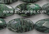 CPT245 15.5 inches 15*30mm faceted marquise green picture jasper beads