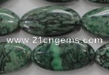 CPT246 15.5 inches 15*30mm marquise green picture jasper beads