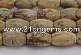 CPT272 15.5 inches 8*12mm rice picture jasper beads wholesale