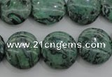 CPT329 15.5 inches 16mm flat round green picture jasper beads
