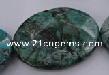 CPT340 15.5 inches 30*40mm faceted oval green picture jasper beads