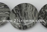 CPT361 15.5 inches 30mm flat round grey picture jasper beads