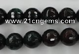 CPT404 15.5 inches 12mm faceted round green picture jasper beads