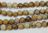 CPT501 15.5 inches 6mm faceted round picture jasper beads wholesale