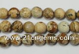 CPT502 15.5 inches 8mm faceted round picture jasper beads wholesale