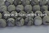 CPT571 15.5 inches 6mm round matte grey picture jasper beads