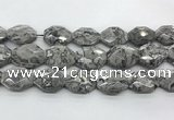 CPT580 18*25mm - 20*28mm faceted octagonal grey picture jasper beads