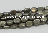 CPY11 16 inches 6*8mm oval pyrite gemstone beads wholesale