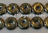 CPY337 15.5 inches 14mm donut pyrite gemstone beads wholesale