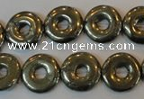 CPY338 15.5 inches 16mm donut pyrite gemstone beads wholesale