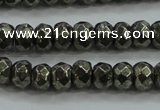 CPY428 15.5 inches 4*6mm faceted rondelle pyrite gemstone beads