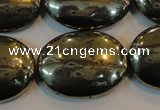 CPY43 16 inches 22*30mm oval pyrite gemstone beads wholesale