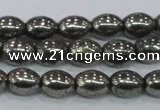 CPY598 15.5 inches 8*10mm rice pyrite gemstone beads wholesale